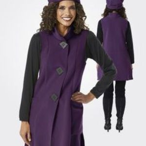 Janska Purple Vest Fleece Coat - Size M